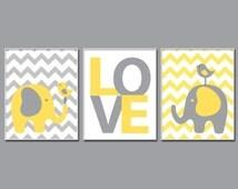 Nursery Yellow and Grey Elephant and Bird Art. Elephant Nursery Art. Baby Boy or Girl Chevron Wall Art. Boys Bedroom Décor - N593,594,595