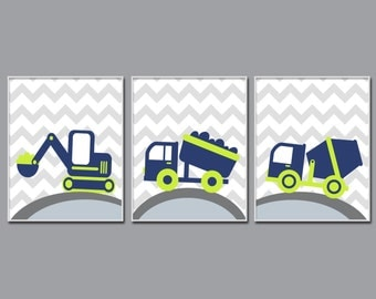 Baby Boy Nursery Wall Print, Truck Nursery Art Set, Suits Navy and Green Nursery, Baby Boy Nursery Art Decor N1122,1123,1124