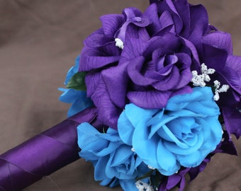 Malibu Blue & Purple Bouquet, bouquet, malibu blue bouquet, bridal bouquet, purple bouquet, wedding bouquet