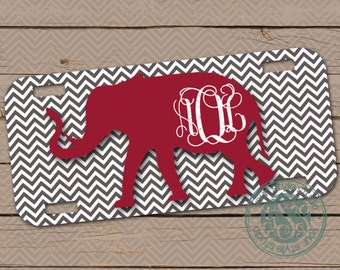 Personalized License Plate - Car Tag - Alabama - Roll Tide - elephant - Houndstooth - 002c