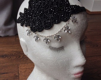 Bridal / Flapper 1920s style Black Bead leaf Hairband fascinator headband