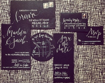 Hand lettered Invitation Suite