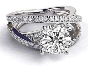 35% Off!! LImited Time Offer! 1.50 CT Art Deco Engagement Ring, Diamond Ring, 14K White Gold Ring, Diamond Engagement Ring