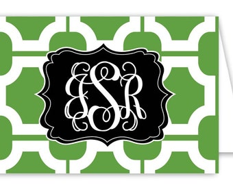 Monogrammed Chinoiserie Folded Note Cards - Set of 30 Personalized Stationery