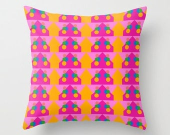 Orange Pattern, Pillow Cover, 16x16,18x18,20x20,home decoration,interior design,colorful,kids decor,Modern Living,Mosaic,Contemporary Decor