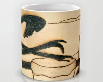 Afro Drummer / Classy Exclusive Solar Art - Solar Pyrography - Solar Etched Design / Ceramic Beverage Mug for Coffee, Tea, Hot Toddy, etc