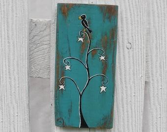 Halloween Crow in Star Tree Original Primitive Folk Art Painting Decoration Wood Funky Raven Turquoise Teal