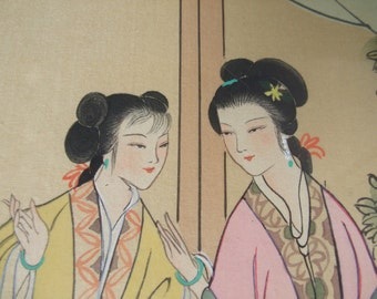 Vintage Framed Korean Watercolor with Silk Background , Asian Ladies in Traditional Dress Art