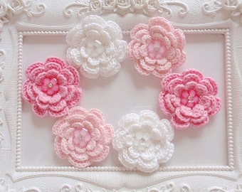 6 pcs crochet flowers with crystal flower applique CH-60-04