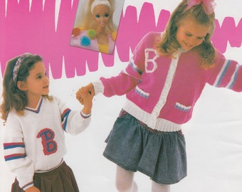 vintage barbie knitting pattern for little girls Barbie cardgan and sweater PDF instant download