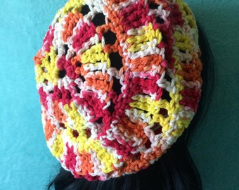 Slouchy Hat, Crochet Colorful beanie, Red White Yellow Orange
