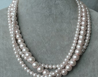 pale pink pearl Necklace,6mm and 10mm triple strand Glass Pearl Necklace,wedding Necklace,bridesmaid necklace,cheap statement necklace