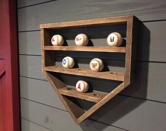 Baseball Shelf, Wooden Home Plate, Baseball Organizer