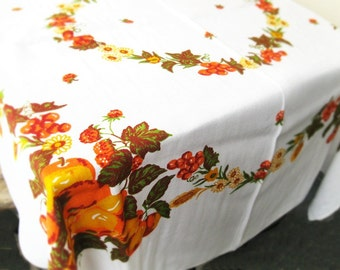 Tablecloth Kitchen cotton tablecloth Vintage USSR 60s Fruits print