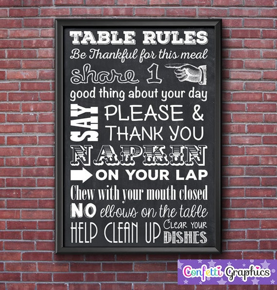 Table Rules Kitchen Dinning Room Wall Art Teacher Sign Poster