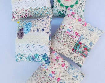 "Miniature pillows, doll pillows, granny chic style with doilies and lace, 5-6""square (approx.), set of 5"