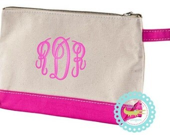 Monogrammed Canvas Cosmetic Bag//Personalized Make Up Bag//Bridesmaid Cosmetic Bag//Personalized Toiletries Bag