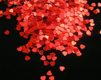 solvent-resistant glitter shapes--ruby (metallic) hearts