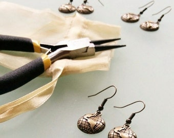 Bronze Globe Dangle Travel-Themed Earrings with FREE GIFT WRAP
