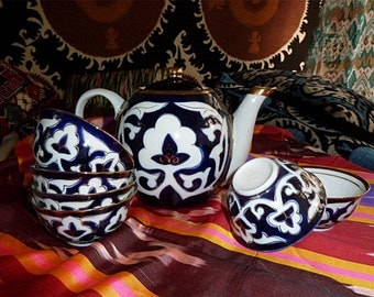 uzbek ceramic tea set pakhta new!!! a4621