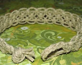 Rugged Men's Hemp Bracelet with Alternating Square Knot, Men's Jewelry
