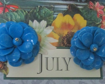 Retro Turquoise Blue Flower Clip On Earrings