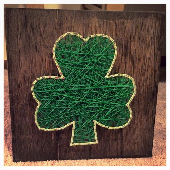 Items similar to made to order shamrock string art st for Irish home decorations