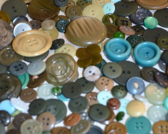 Vintage Green 200 Button Lot Multi Green colors and sizes