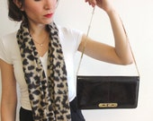 Brown leather evening bag, Vintage Brown Snakeskin Leather Clutch, 1970s Evening bag, Shiny leather bag