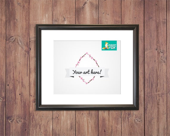 Picture frame mockup template with light wood background - Photo wall display template ...