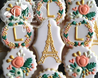 Parisian Bridal Shower Wedding Monogram Elegant Shabby Chic Floral Cookies
