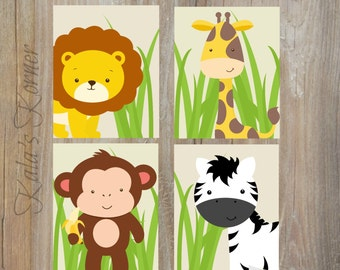 Jungle Nursery Art - Jungle Nursery Decor - Self Print 4 piece Set - Instant Download Jpeg Files
