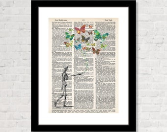 Walking Skeleton with Butterfly Swarm - Circle of Life - Dictionary Art Print