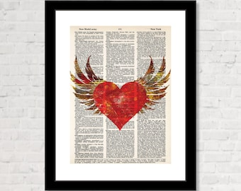 Winged Heart Print On Dictionary Page - Gothic - Steampunk - Dictionary Print - Dictionary Page Art