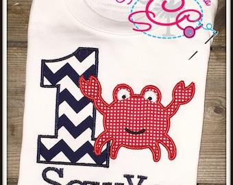 Personalized Crab Birthday Shirt/Bodysuit
