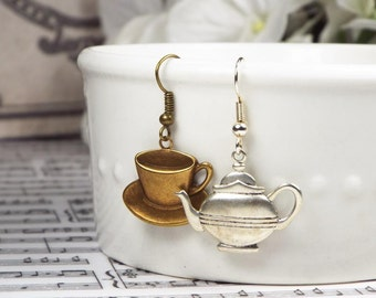 Teapot and Teacup Mismatched Steampunk Dangle Earrings Jewelry - Silver Plated or Brass