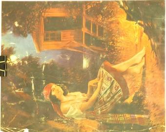 Original Vintage Gypsy Campfire Calendar Print