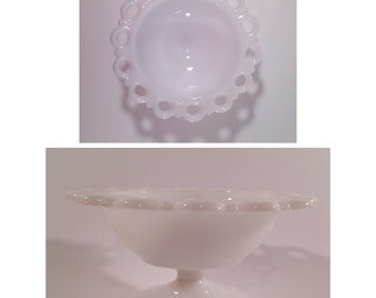 Vintage milk glass compote with lace edge