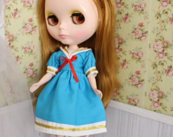 ON SALE!!! Blue sailor dress for Blythe or Pullip doll
