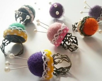 Lace and felt pin cushion rings