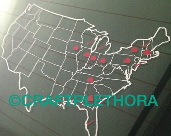 Vinyl Usa Map Places Traveled