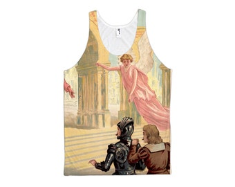 Christian with angels entering Celestial City all-over print tank top