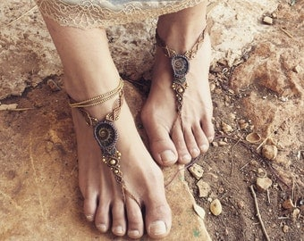 Tribal BAREFOOT sandals~ made by order ammonite macrame sandal foot jewelry beach wedding bohemian gypsy shoes macrame anklets artofgoddess
