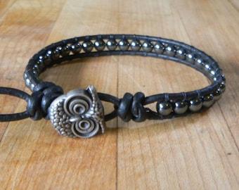 Midnight Owl Hematite Bracelet - Beaded Leather Wrap Bracelet - Men Women - Beaded Bracelet - Beaded Leather Bracelet - Boho Bracelet