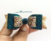 Girls turquoise mermaid leather bow with rose gold glitter, dark blue green hair Accessories, hair clips, Leather Bow, Baby hair, Fall bow