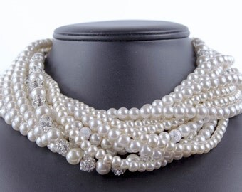 Bridal Necklace Pearl Bridal Jewelry Statement Bridal Necklace Wedding Necklac Chunky Necklace Bethany
