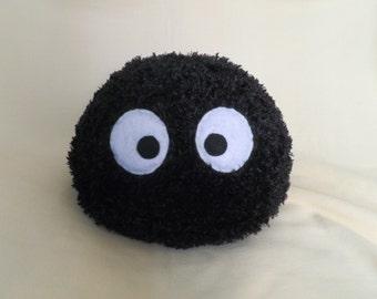 Cute Fluffy Miyazaki Soot Sprite / Sootball Plush or Pillow / Spirited Away / Studio Ghibli