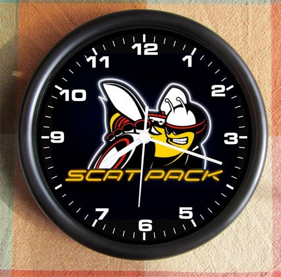dodge black logo scat pack big 10 inch black wall clock ships