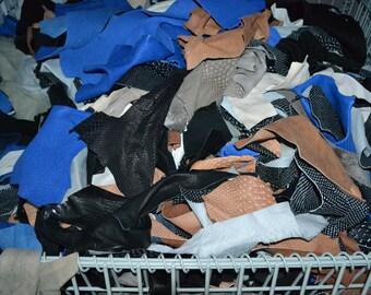 Scrap Leather Lambskin 1 pound 1-3 oz Remnants Mix, Handbag Trimming - 38745