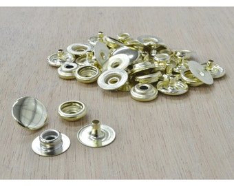 Line 20 Snap Steel Fasteners Brass Plated, leathercraft, 10 Pack - 14523
